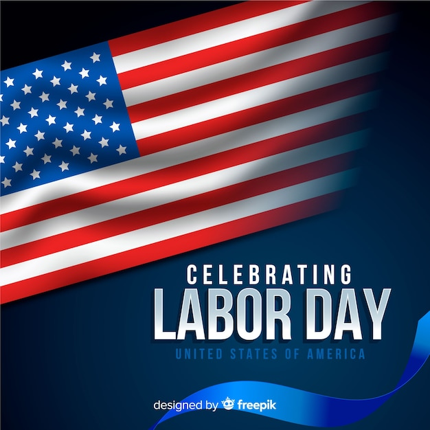 Usa labor day background in realistic style Free Vector
