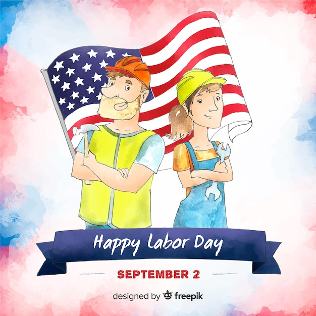 Usa labor day background in watercolor style Free Vector