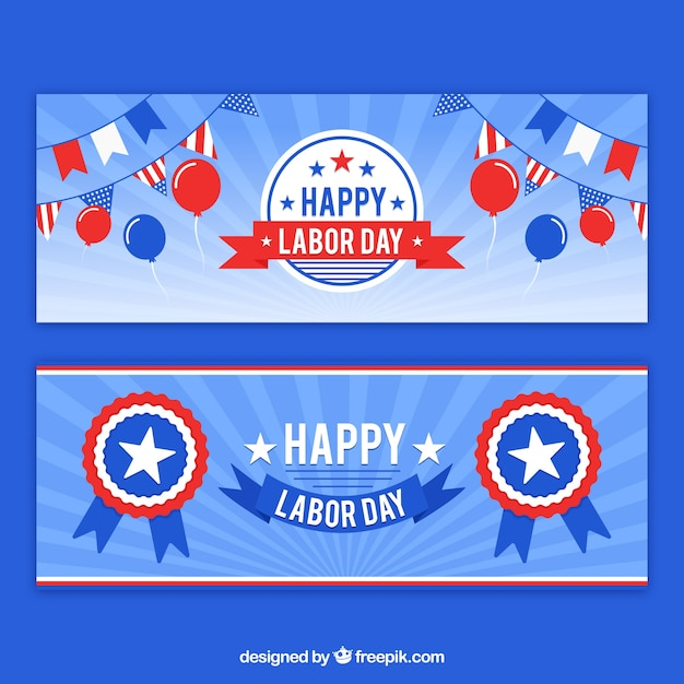 Usa labor day banners with flat design Free Vector