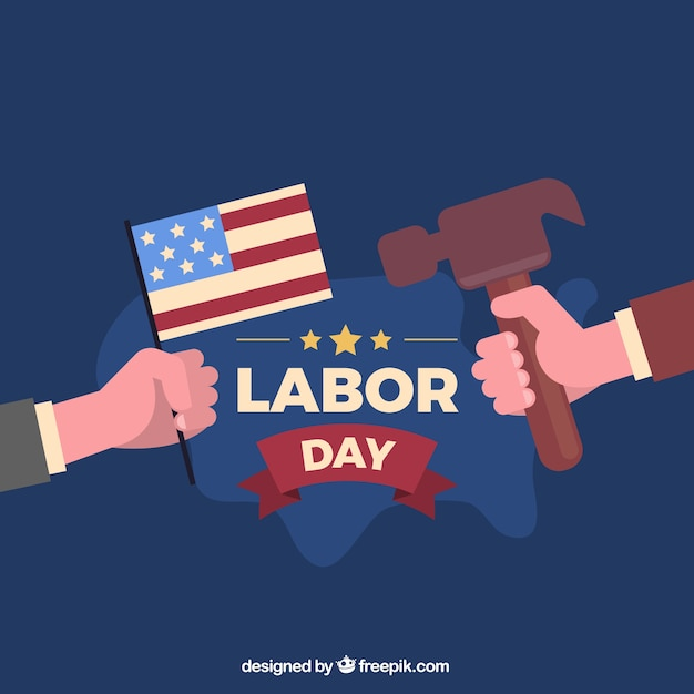 Usa labor day composition with flat design Free Vector