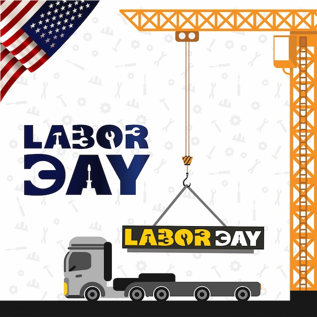 Usa labor day design with crane and truck Free Vector
