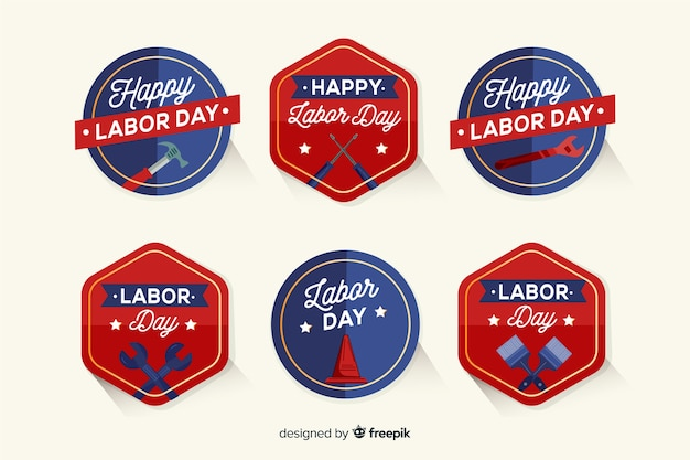 Usa labor day labels in hand drawn style Free Vector