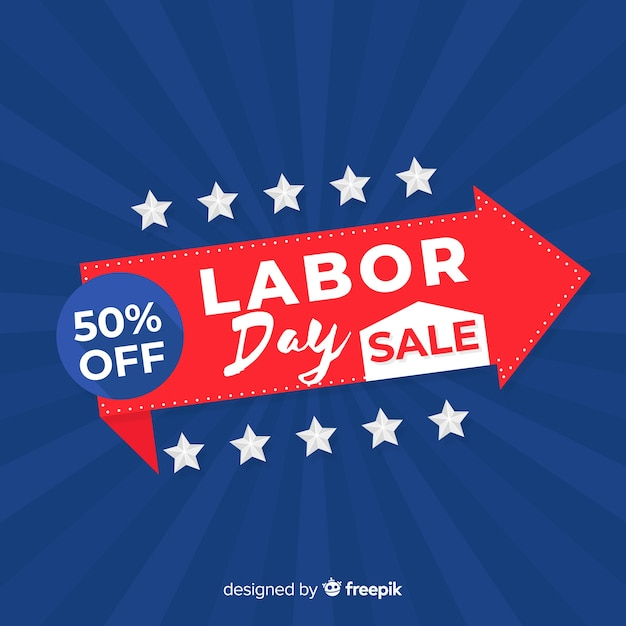 Usa labor day sale background in flat style Free Vector