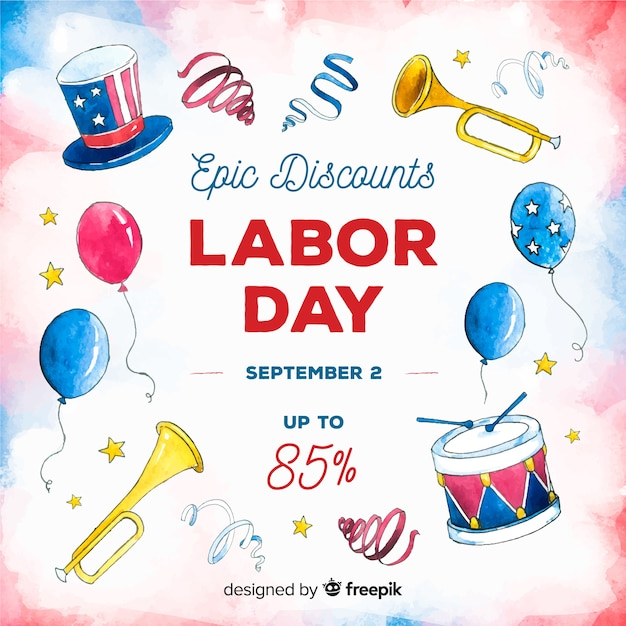 Usa labor day sale background in watercolor style Free Vector