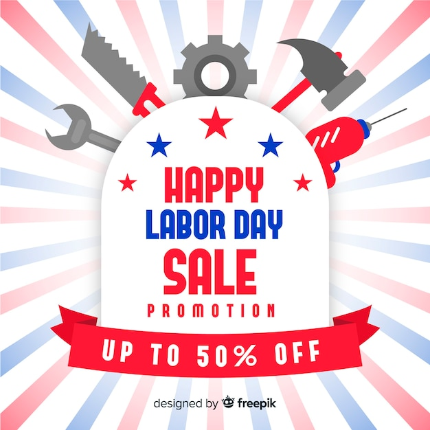 Usa labor day sales background in flat style Free Vector