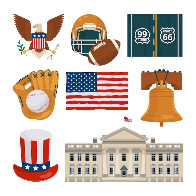 Usa landmarks and other different cultural objects Premium Vector
