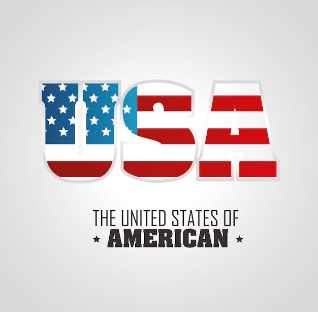 Usa lettering with flag. the united states of america Free Vector