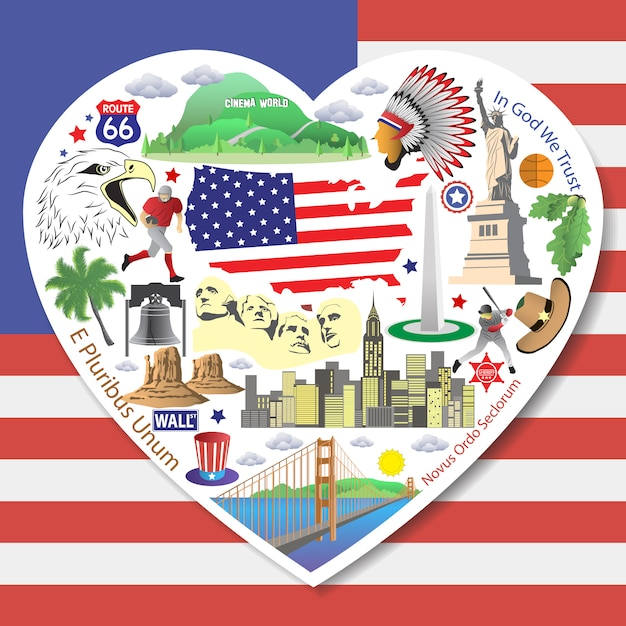 Usa love. set american icons and symbols in form of heart Premium Vector