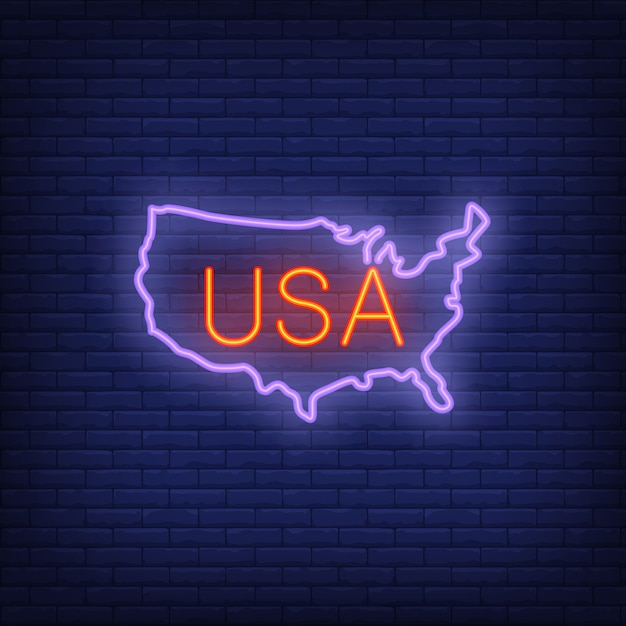 Usa map on brick background. neon style illustration. usa banner. Free Vector