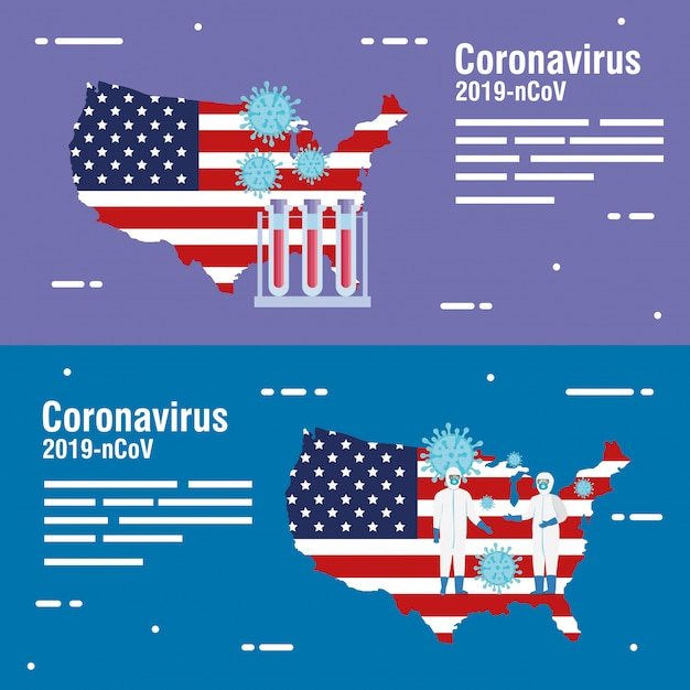 Usa map and flag with covid19 particles and tubes test Free Vector