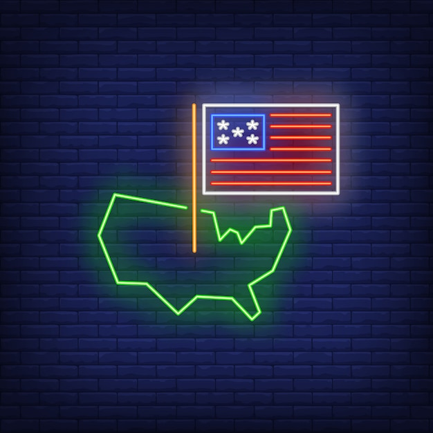 Usa on map neon sign Free Vector