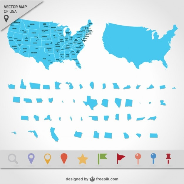 USA map states Vector Free Download