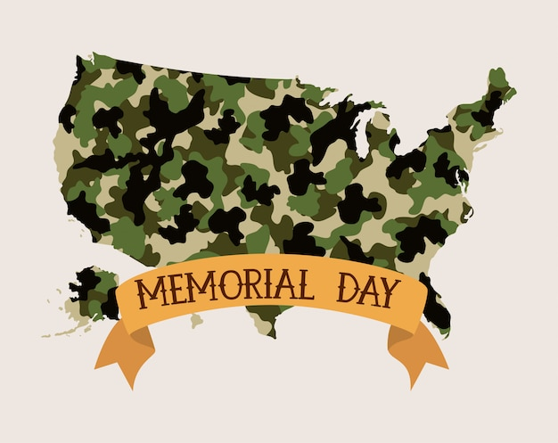 Usa map with camouflage and tape of memorial day emblem Premium Vector
