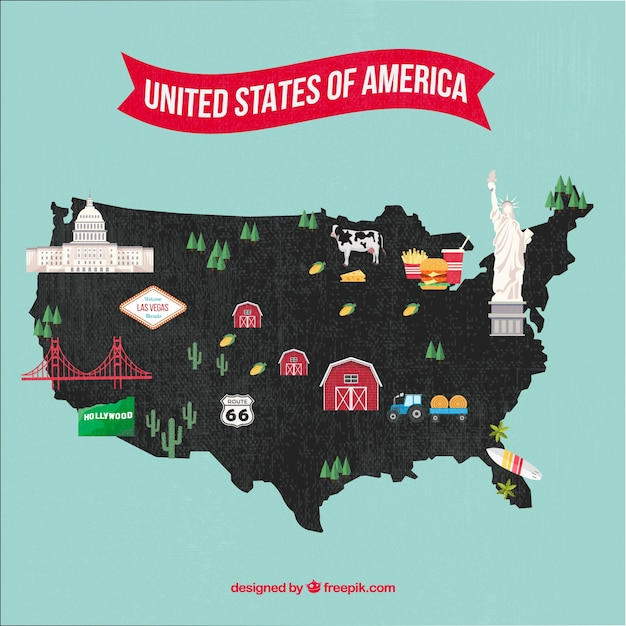 Usa map Free Vector