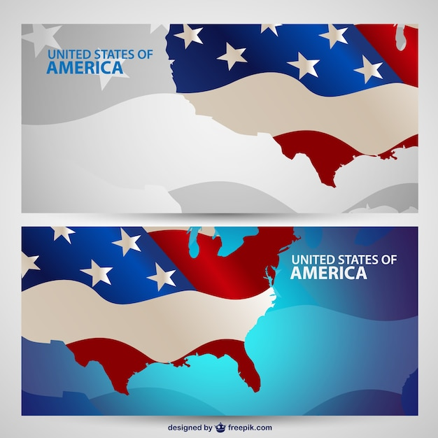 USA maps with flag banners Vector | Free Download