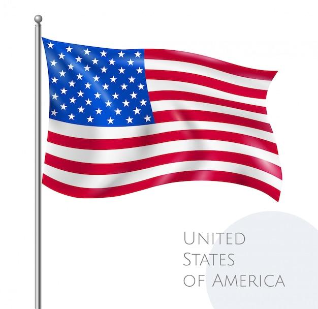 Bandiera di volo nazionale usa con stelle e strisce realistiche Vettore gratuito