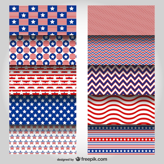 Usa patterns set Free Vector