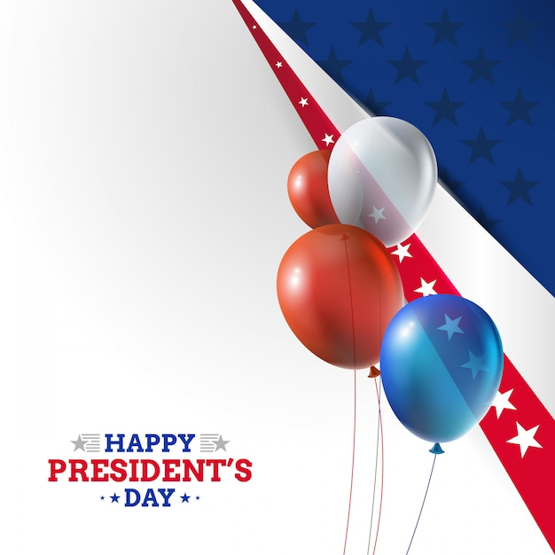 Usa president's day background with realistic balloons Premium Vector