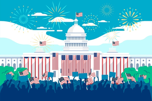 Usa presidential inauguration illustration with white house and fireworks Free Vector