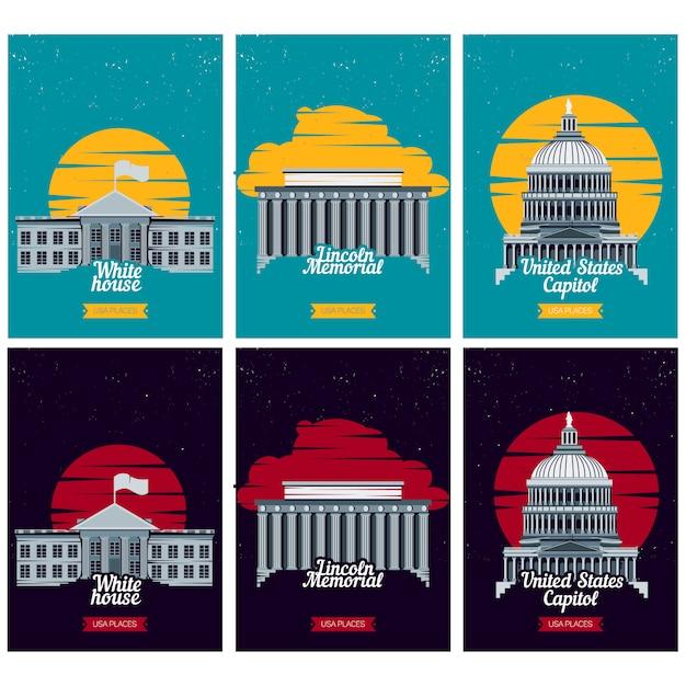Usa tourist destination posters Premium Vector