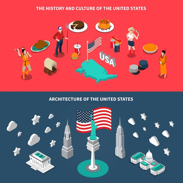Usa touristic attractions isometric banners Free Vector