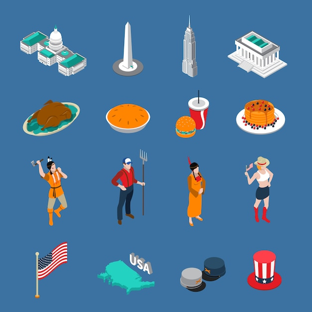Usa touristic icons set Free Vector