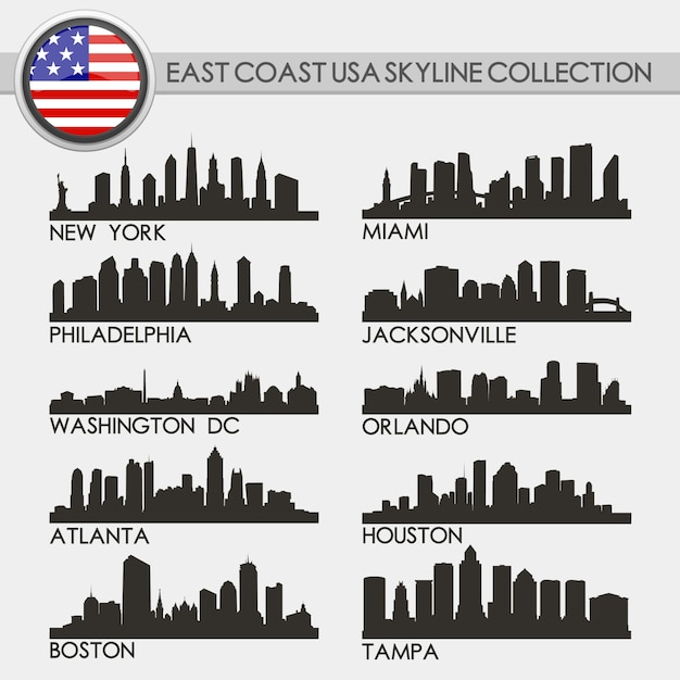 Usa west coast skyline city set Premium Vector