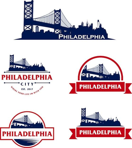 フィラデルフィアusaのスカイラインロゴの街並み Premiumベクター
