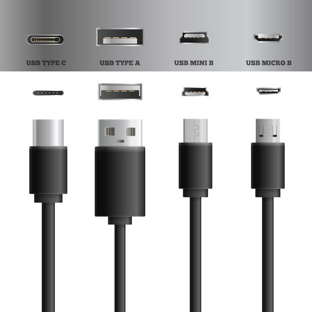Usb cable socket set Free Vector