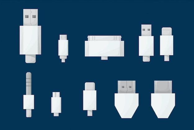 Usb cables set. Premium Vector