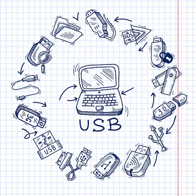 Usb and computer Free Vector