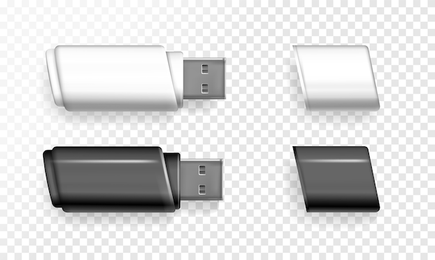 Usb flash drive illustration of 3d realistic memory stick. Free Vector