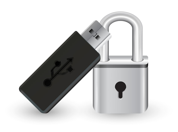 Usb flashdrive with a metal steel master key lock Premium Vector