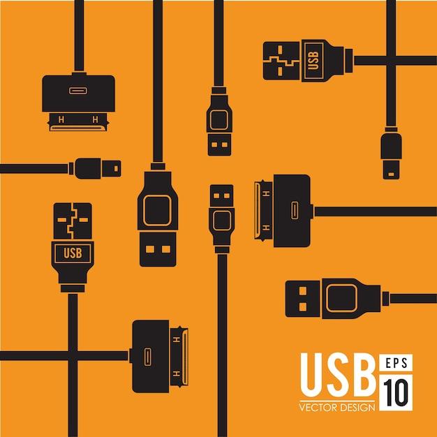 Дизайн usb Premium векторы