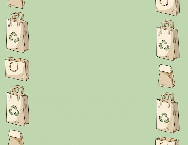 Use less plastic paper bags seamless pattern Premium Vector