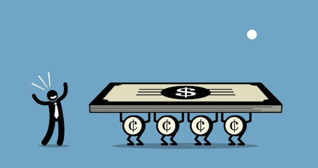 Use money to make more money.  artwork depicts a businessman uses his money to work for him. Premium Vector