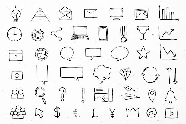 Icone utili di affari per la raccolta nera di marketing Vettore gratuito