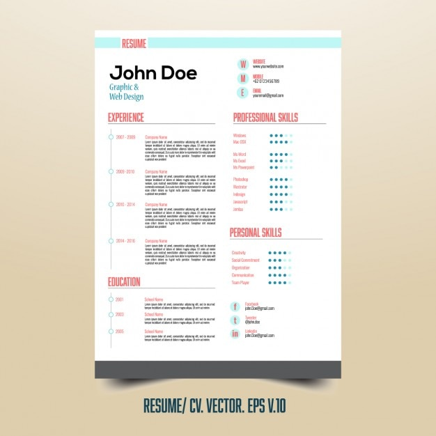 useful resume template with infographic elements free vector - Elements Of A Resume