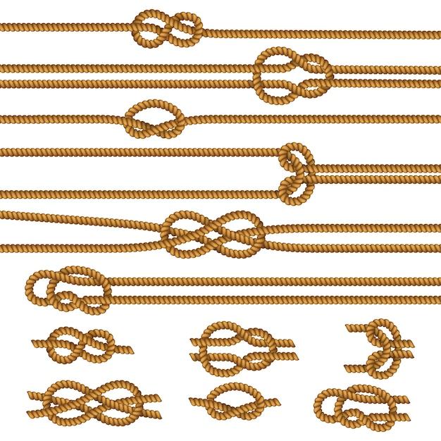 便利なロープの結び目のサンプルコレクション 無料ベクター
