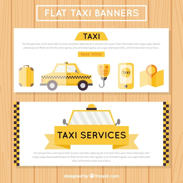Useful taxi banners, flat style