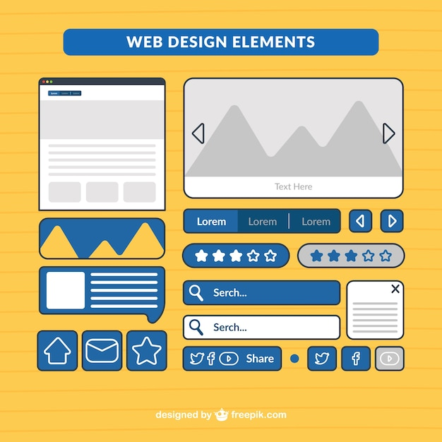 Useful web elements pack Free Vector