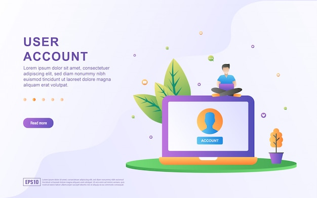 User account flat design concept. people are creating account access. user account to enter the website. Premium Vector