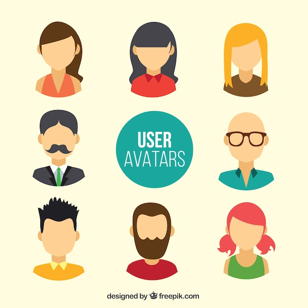 User avatars without faces Free Vector