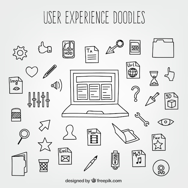 User Experience Doodles With Icons Free Vector