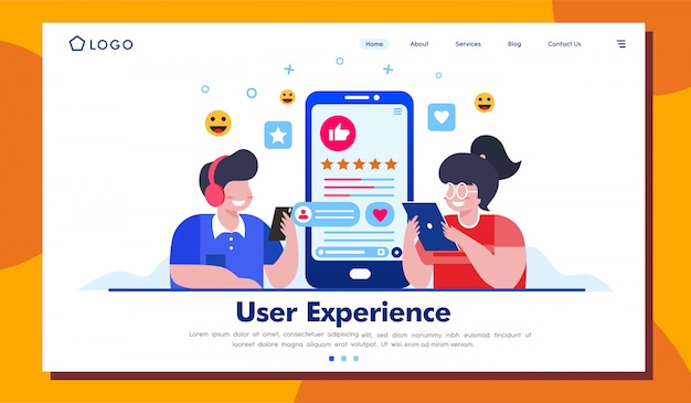 User experience landing page website illustration template Premium Vector