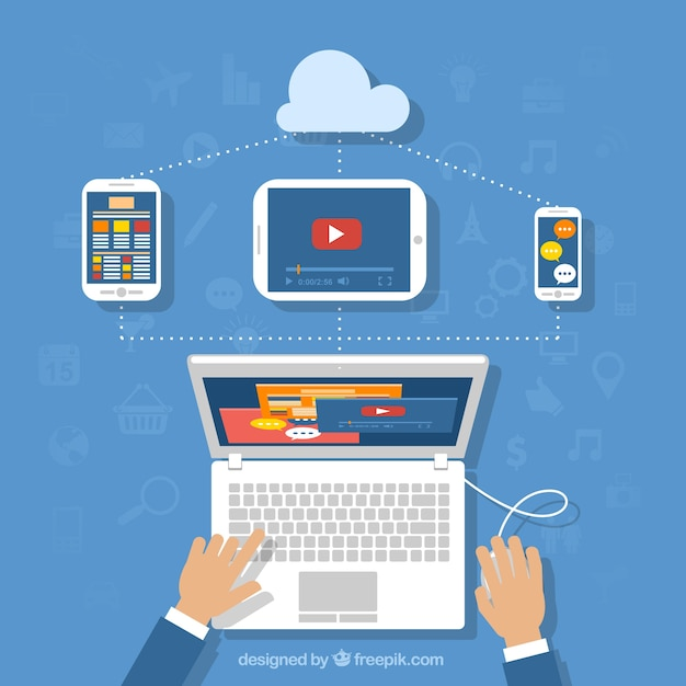 User experience with a laptop Free Vector