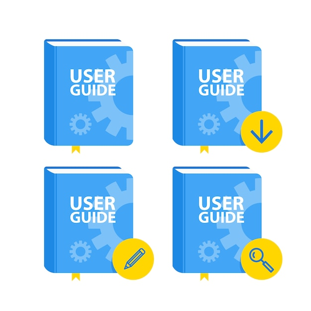 User guide book download icon set. flat Premium Vector
