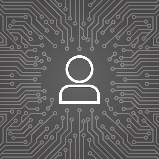 User icon member over computer chip moterboard background banner Premium Vector