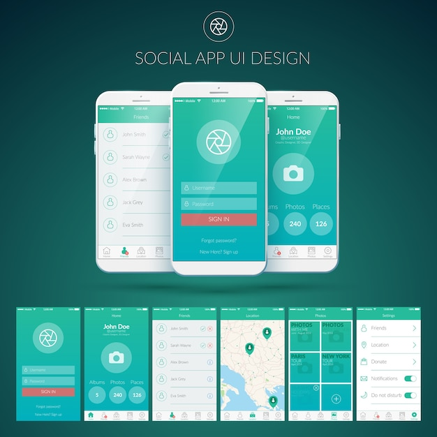User interface design concept with different screens buttons and web elements for mobile social applications Free Vector