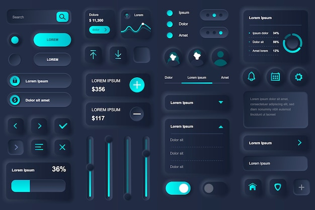 User interface elements for banking mobile app. financial analytics of bank account, deposit and credit balance gui templates. unique neumorphic ui ux design kit. manage and navigation components. Premium Vector